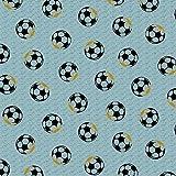 Verhees Baumwolljersey Football Fun in Blue 50 x 150 cm