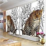 ShAH Custom 3D Wallpaper High-Definition-Dschungel Blume Leopard Sofa Wohnzimmer Schlafzimmer Tv-Wand Dekoration 3D Tapete Hintergrundbild Wallpaper Wandmalerei Fresko Mural 400cmX300cm