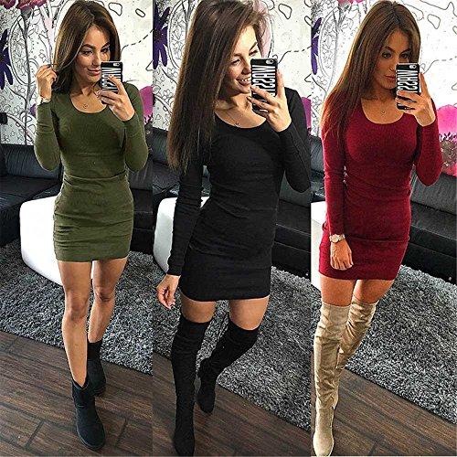litalily-Abito mini a maniche lunghe semplice Abito sexy a maniche lunghe con maniche lunghe moda donna Black