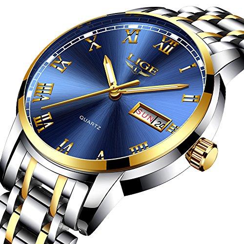 Watches Mens Full Stainless Steel Waterproof Analog Quartz Watch Men Luxury Brand LIGE Fashion Casual Gents Auto Calendar Business Dress Wristwatch