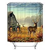GraceFINE Duschvorhang 3D Polyesterfaser Stoff Wasserdicht Bad Vorhänge Antibakterielle Badezimmer Gardine mit Haken 180*180cm, Deer