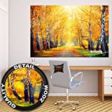 Poster goldener Herbst Wandbild Dekoration Birken Wald Natur Landschaft Baum Allee Weg Autumn Sonne Jahreszeiten Park Forest | Wandposter Fotoposter Wanddeko Wandgestaltung by GREAT ART (140 x 100 cm)