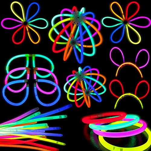 100leuchtende Party-Knicklichter, Leuchtstäbe-Set, inklusive Zubehör für 50Armbänder, 5Hasenohren, 5Brillen, 3Leuchtbälle oder 6Blumen, 4Dreifach-Armbänder, Länge der Leuchtstäbe: 20,3cm (Supplies Party Bulk Neon)