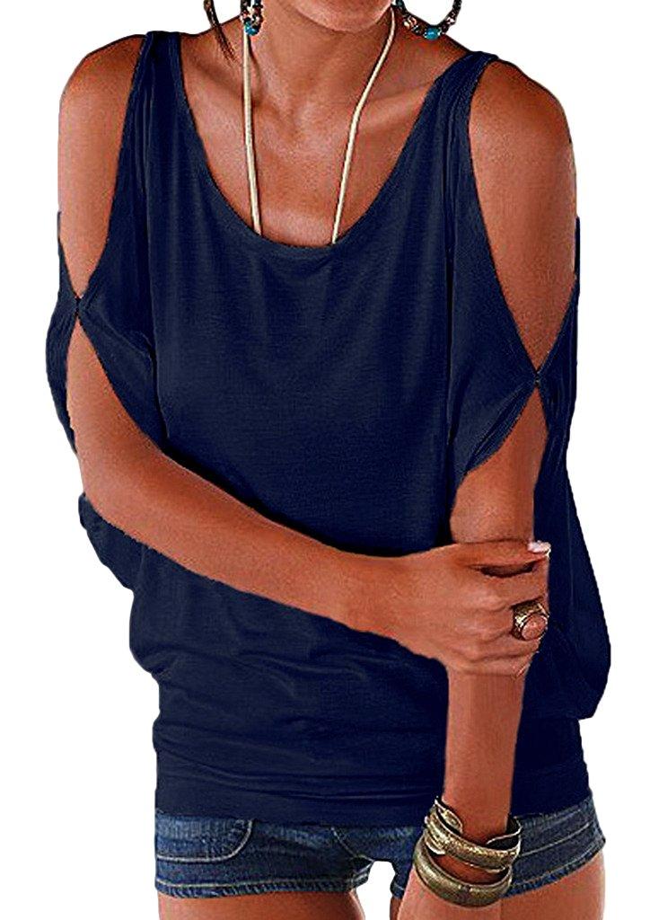 Imixcity Verano Camisas De Hombro Fr o Blusas Tops del Batwing Camisetas sin Mangas Camiseta Casual Camiseta para Mujer