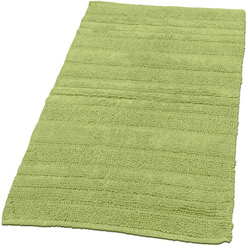 Badematten Badezimmermatte Badteppiche Baumwolle in Uni versch. Farben u. Größen, Grösse:60x100 cm, Farbe:Grün (Große Rutschfeste Badteppich)