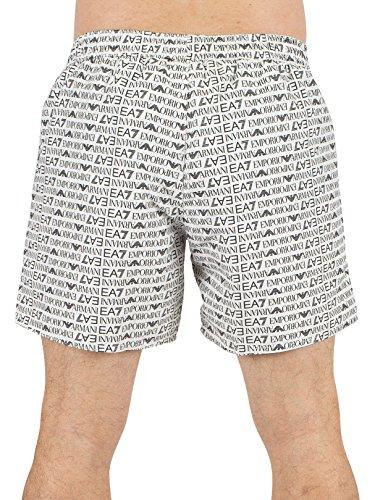 Emporio Armani Uomo EA7 All Over stampa del logo Pantaloncini da bagno, Bianca Bianca