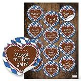 Set 48 blau weiß karierte Bayern Lebkuchenherz Aufkleber Sticker 6 cm mit lustigen Sprüchen Mundart bayerisch wie Ich liebe Dich Ich mag Dich - ideal für Singels zum Oktoberfest Flirten und die Liebe