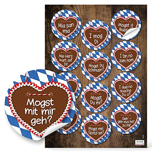 set 12 blau wei karierte bayern lebkuchenherz aufkleber sticker 6 cm mit lustigen spr chen. Black Bedroom Furniture Sets. Home Design Ideas