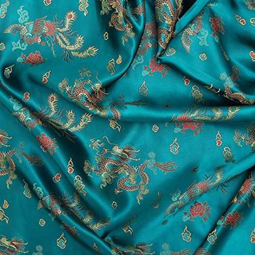 chinese-oriental-blue-gold-dragon-embroidered-brocade-silky-satin-dress-cushions-fabric-silky-satin-