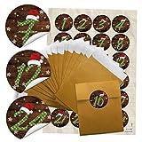24 gold-farbene Adventskalender Tüten SET (9,5 x 14 cm) + 24 runde Aufkleber 4 cm Zahlen 1-24 grün gepunktet mit roter Mütze zum Befüllen