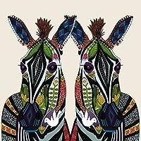 Innova fp06886vidrio de arte dibujo de pareja de cebras en verde/amarillo/marrón sobre fondo marfil 60x 60cm)