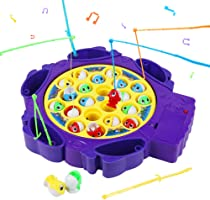 Symiu Pesca Pesciolini Gioco Musicale Tavolo Pesca Gioco Interattivo con 6 Canna da Pesca e 21 Pesci per Bambini 3 4 5(2...