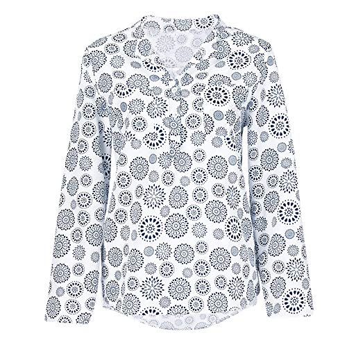 Große Größe T-Shirt Oberteile für Damen/Dorical Frauen Kurzarm/Lange Ärmel V-Ausschnitt Knopfleiste Lose Drucken Sweatshirt Tunika Sommer Elegant Casual Tops S-5XL Reduziert(Weiß-2,XX-Large) (Shiseido-gesicht Waschen)