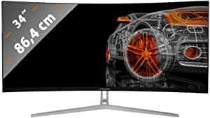 "LC-Power LC-M34-UWQHD-100-C - Monitor per gaming da 34"", curvato, Ultra WQHD, display 16:9, 4ms, VA, 1 HDMI, DP, DVI, AUX, 100 Hz, colore: nero e bianco"