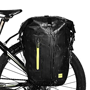 Selighting 20-25L Bike Pannier Bag Waterproof Bicycle Rear Seat Trunk Bag Cycling Storage Pouch Shoulder Bag with Rubber Handle & Shoulder Strap