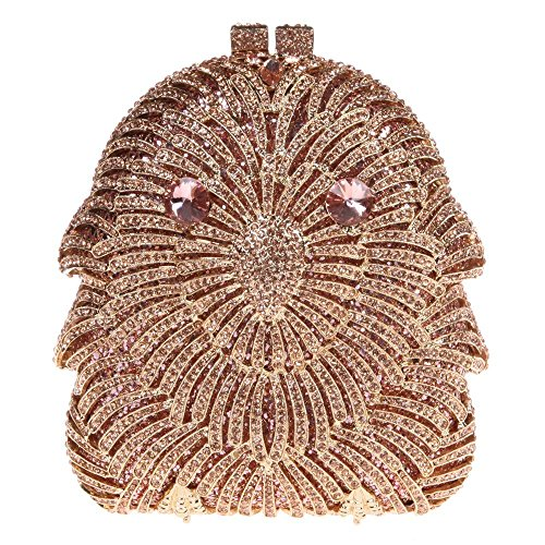 Santimon Donna Pochette Borsa Gufo Diamante Cristallo Borsellini Borse Da Festa di Nozze Sera Con Tracolla Amovibile 3 Colori oro