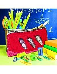 Ekan Girls Reversible Mermaid Glitter Sequins Handbag Zipper Bag, Pouch For Women And Girls, Red, 20 Gram, Pack...