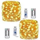 Led Kupferdraht Lichterkette, Adomor 2 Stück 10m 100 LED USB-Schnur-Lichter mit Fernbedienung 8 Modi und Zeitwahl Dimmen LED-Lichter für Innen- und Außendeko für Party, Weihnachten, Urlaub, Schlafzimmer (Warmes Weiß)