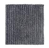 Casalanas - Levante, Moderne Streifen, Schwerer Badezimmerteppich, 100% Natur-Baumwolle, 60x60cm, Silbergrau