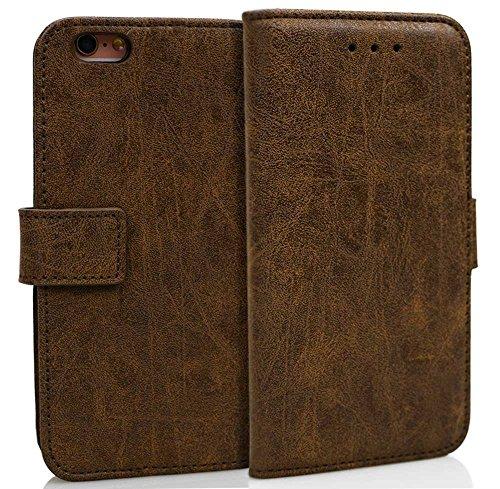 Wendapai zum iPhone 6 iPhone 6s 4.7 inch Genuine Leder Brieftasche Hülle Hülle, Flip Stand, Kartenschlitz, Stylish, Dark Brown
