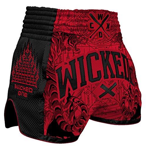 Wicked One Muay Thai Shorts Tiger - Red - Muay Thai Thaiboxen Shorts traditionelle Thaiboxhose für Herren Sommer 2018 / Cooles Design mit aufwendigen Stickereien (XL) (Thai Muay Shorts)