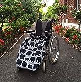 BundleBean - Fußsack für Rollstühle für Erwachsene - Fleece-Futter - wasserdicht - Universalgröße Einfach zu befestigen, mit kompaktem Packbeutel zum Aufbewahren - Grau mit Elefanten