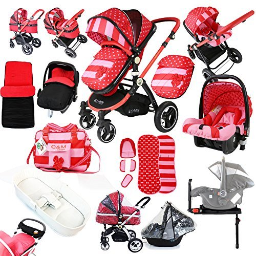 i-Safe System - Bow Dots Trio Travel System Pram & Luxury Stroller 3 in 1 Complete With Car Seat, Base, Bag, Bedding,Console Rain Covers & Foot Muffs by iSafe