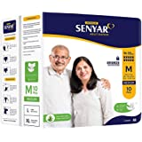 "Senyar Unisex Adult Diaper with Aloe Vera & Super Lock Gel, Medium Waist Size (28"" to 44"" inches) - 10 Pieces"