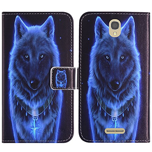 TienJueShi Wolf Flip Book-Style Brief Leder Tasche Schutz Hulle Handy Case Silikon Abdeckung Fall Wallet Cover Etui Skin Fur Alcatel One Touch Pop Star 4G 5070X 5070D 5 inch - Star Handy Fall