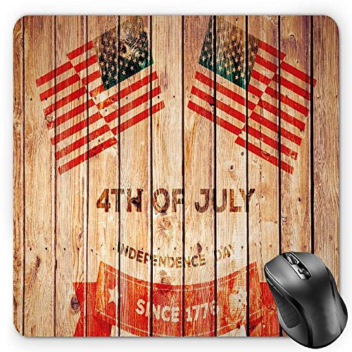 Standard-flag Banner (HYYCLS 4th of July Mauspads, Wooden Planks Background with United States Flag Design and Colorful Banner, Standard Size Rectangle Non-Slip Rubber Mousepad, Multicolor)