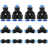 KINYOOO 12 stuks luchtsnelkoppeling kit koppeling, pneumatische stekkerverbinding, algemeen pneumatisch push in fitting snell