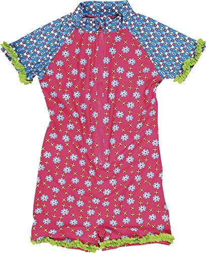 Playshoes Mädchen Einteiler Blumen, UV-Schutz nach Standard 801 und Oeko-Tex Standard 100, Gr. 110 (Herstellergröße: 110/116), Mehrfarbig (18 Pink)