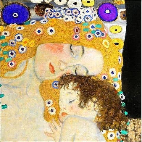 Cuadro sobre lienzo 40 x 40 cm: Mother with child de Gustav Klimt - cuadro terminado, cuadro sobre bastidor, lámina terminada sobre lienzo auténtico, impresión en