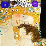 Posterlounge Leinwandbild 50 x 50 cm: Mutter mit Kind von Gustav Klimt - fertiges Wandbild, Bild auf Keilrahmen, Fertigbild auf echter Leinwand, Leinwanddruck