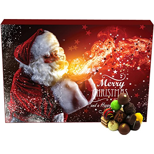 Hallingers 24 Pralinen-Adventskalender, mit/ohne Alkohol (300g) - Make a Wish (Advents-Karton) - zu Weihnachten Adventskalender