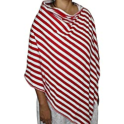 kadambaby - Premium Nursing Cover / Breastfeeding Poncho / 100% Cotton - Red striped. Stylish Nursing poncho / can be used as Stole/Scarf