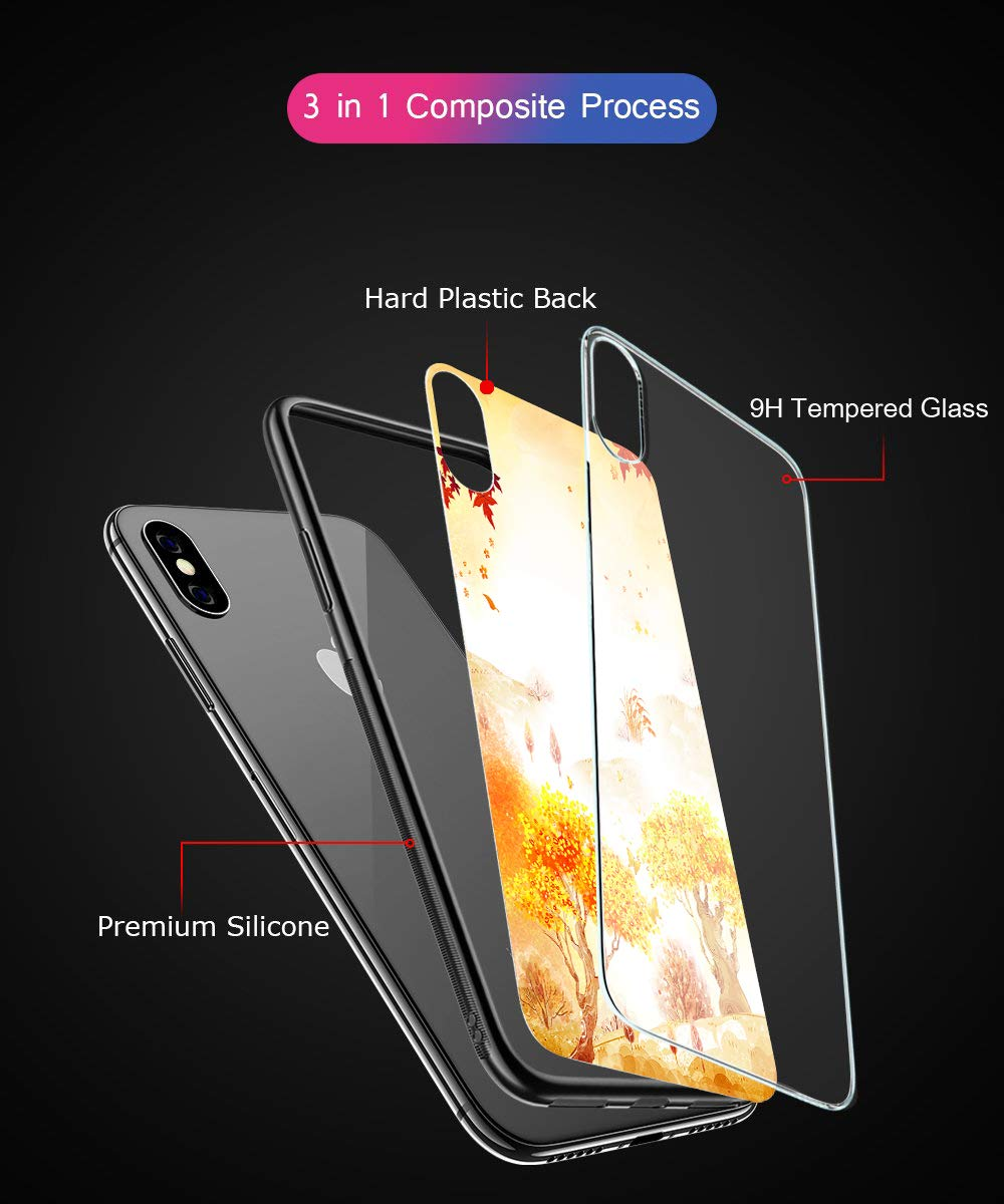 Oihxse Compatible for Xiaomi Mi 8SE Case Glass with Design, Slim Fit Tempered Glass Back Fashion Pattern [Anti-Yellow] [Non-Fade] Cover Shockproof TPU Bumper Skin Shell for Xiaomi Mi 8SE-Yellow3 Oihxse 🍂Slim Fit snugly for Xiaomi Mi 8SE without bulky and loose. 100% compatible with the Qi [Wireless Charging]. Ultra Thin glass back cover will not block [WiFi / GPS / Bluetooth / Signal Reception]. 🍂Stylish autumn series pattern covered with 9H tempered glass to ensure the performance of [Anti-Fade] [Anti-Yellowing], durable for use and adds more sleek look even fashion charming. Suitable for girls, boys, women and men. 🍁Soft TPU bumper with anti-slip design on both sides, compliment with pretty autumn series hard plastic panel plus 9H tempered glass back shell, not only can withstand shocks, impacts, scratches, and bumps, but also provide great in-hand feeling and grip. 5