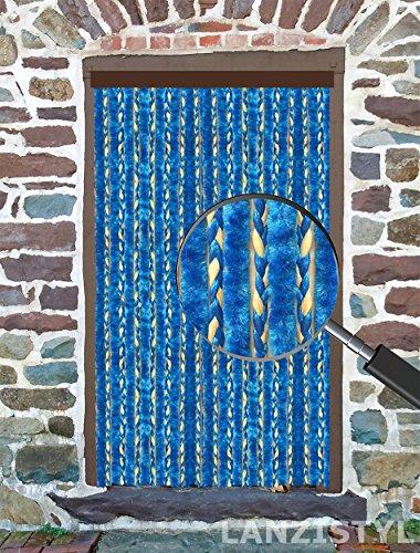 Tenda antimosche antinsetti in ciniglia per porta mod. cibelix protezione e schermatura - riducibile (120 x 220 h, blu profilo marrone)