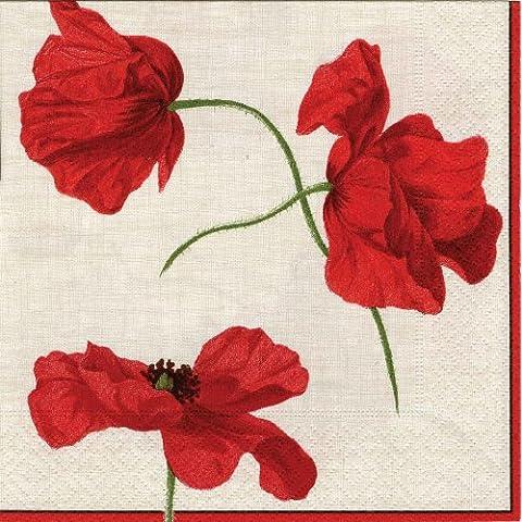 Caspari Entertaining - Tovaglioli di carta, confezione da 20 pezzi, motivo Dancing Poppies, colore rosso/avorio