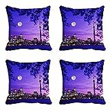 meSleep Night City Kissenbezug Set von 4PCS Blau Nähen Überwurf Quadratisch Sofa Kissen Fall 30,5cm 40,6cm 45,7cm 50,8cm 55,9cm Art Deco 12