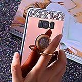 Etsue Glitzer Silikon Schutz HandyHülle für Samsung Galaxy S7 mit Ring Fingerhalterung Ständer TPU Hülle, Spiegel Hülle Mirror Effect Glänzend Glitzer Sparkle Strass Diamant Luxus Kristall Glitter Si