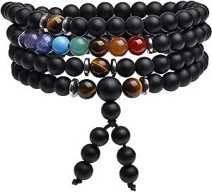 Jovivi 108 perle braccialetto avvolgente 6 mm 7 Chakra Yoga bracciale Buddha Mala catena catena preghiera Healing Reiki gioielli