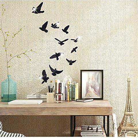 Pigeon 3d Acryl Dekorative Perspektive Spiegelwand Aufkleber 50 * 100cm,Black