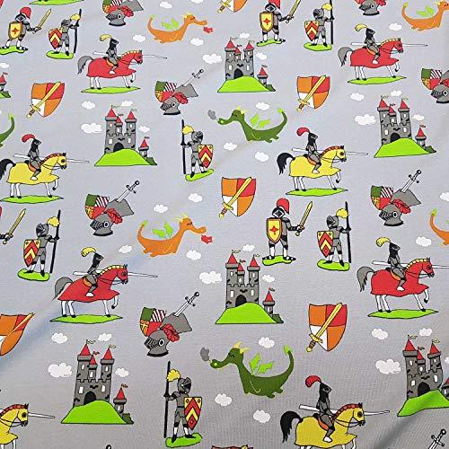Stoff Baumwolle Jersey grau Ritter Drachen Burg Reiter Kleiderstoff Kinderstoff Schild