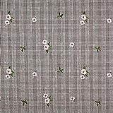 Fabulous Fabrics Glencheck Gestickte Begonien -