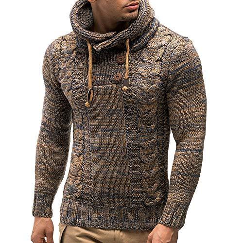 Celucke Herren Strickpullover Kapuze mit Kordelband und Knopfleisten,Winter Warm Pulli Langarm Pullover Casual Sweatshirt Winterpullover