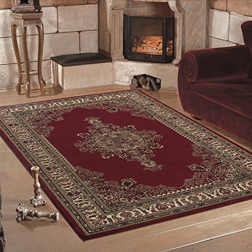 Calidad Oriental tradicional bordeado diseño clásico alfombra roja suave en 6tamaños, polipropileno, Rojo, 120 x 170 cm (4' x 5'6'')