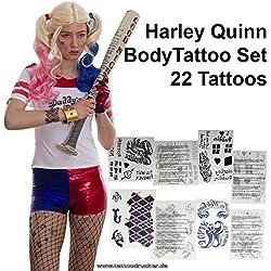 Tatuajes temporales Harley, diseños de lazo, 22pegatinas para Body Art, Carnaval, Halloween, Cosplay