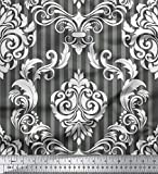 Soimoi Grau Viskose Chiffon Stoff Streifen & Vektor-Design
