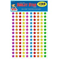 Happy Face Smiley Star Stickers, ¾ inch, 7 Bright Neon Colors, Great for Teachers & Classrooms!...